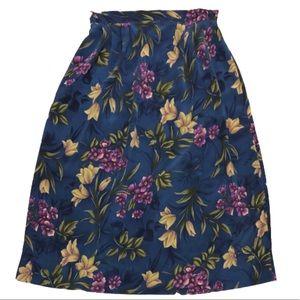 Vintage blue floral midi skirt